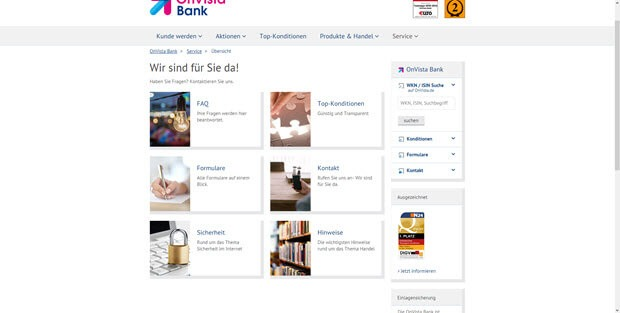 Eine strukturierte Übersicht der Servicevielfalt bei der Onvista Bank