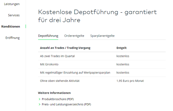 Konditionen bei Comdirect in der Comdirect Bewertung