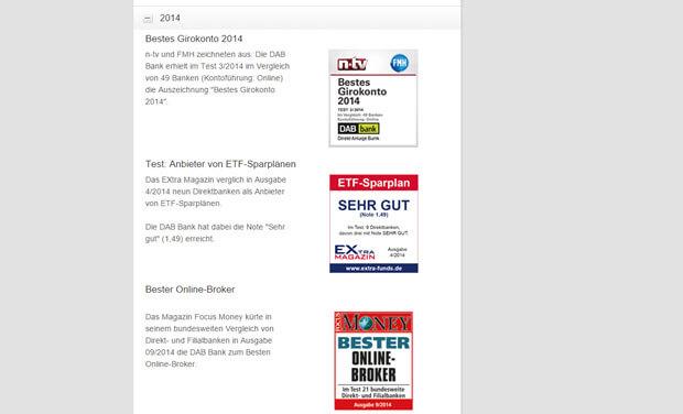 Viele Auszeichnungen für die DAB Bank