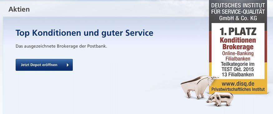 Top Konditionen und guter Service stehen für die Postbank