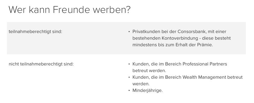 Bedingungen Freunde consorsbank