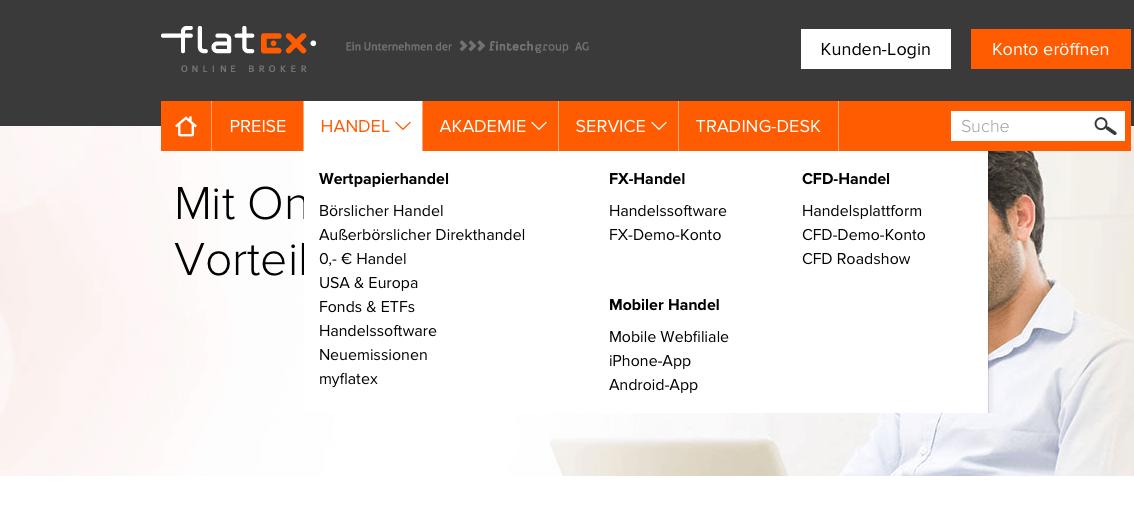 Flatex bietet sowohl ein Fx-Demo-Konto, als auch ein CFD-Demo-Konto an