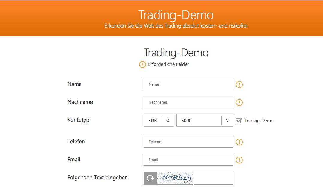 Auch GKFX bietet ein kostenloses Demokonto