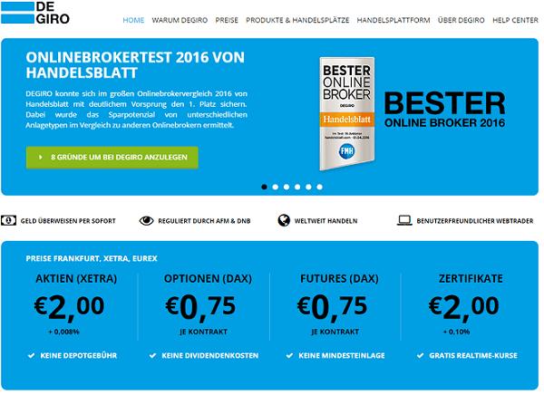 Die Webseite unseres Aktiendepot Testsiegers DEGIRO