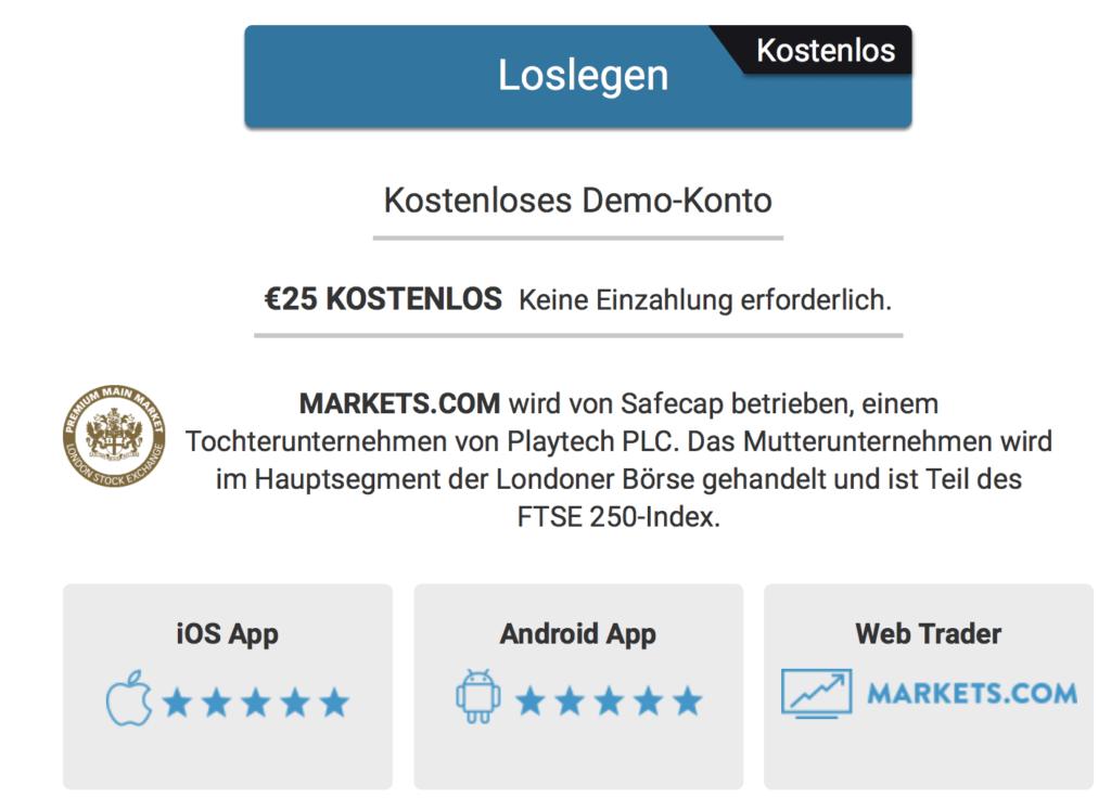 Bei Markets.com besteht die Möglichkeit, vorerst ein Demokonto zu nutzen.