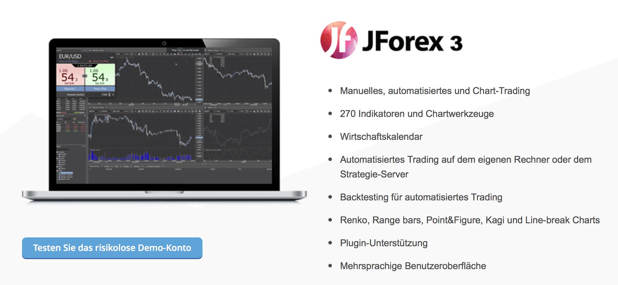 Das Trading kann bei Dukascopy unter anderem über JForex 3 erfolgen