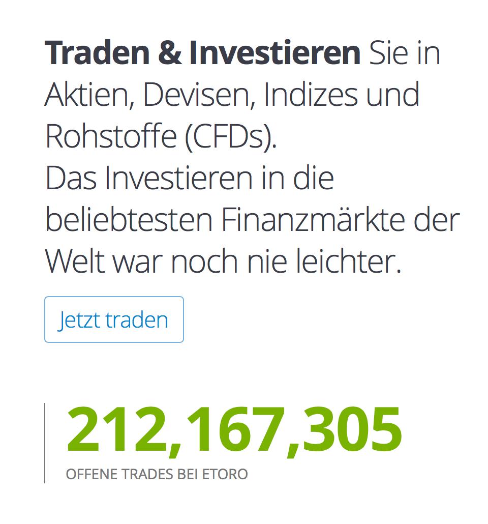 Bei eToro in die beliebtesten Finanzmärkte weltweit investieren