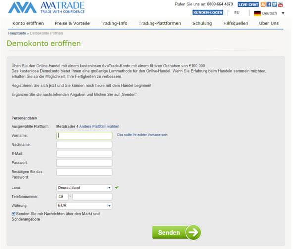So einfach kann man ein Demokonto bei AvaTrade eröffnen