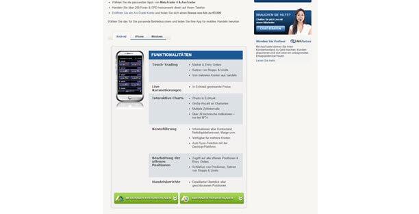 AvaTrade auch mobil als App nutzbar