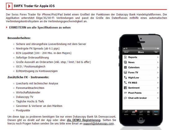 Dukascopy auch per App mobil nutzbar
