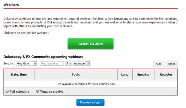 Dukascopy bietet unter anderem Webinare an