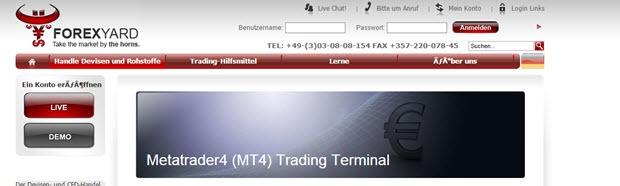 Forexyard bietet die MT4 Plattform an