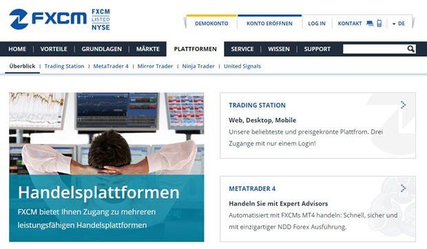 Diese Handelsplattformen bietet FXCM