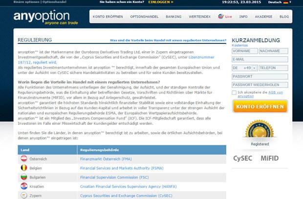 Auf der Homepage von anyoption finden Sie wichtige Informationen zur Regulierung