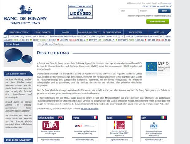 Banc de Binary bietet auf Ihrer Homepage detaillierte Informationen zur Regulierung