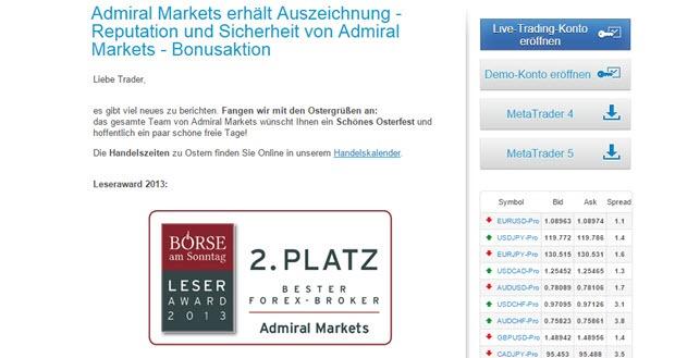 """Admiral Markets auf dem 2.Platz der """"besten Forex-Broker"""""""