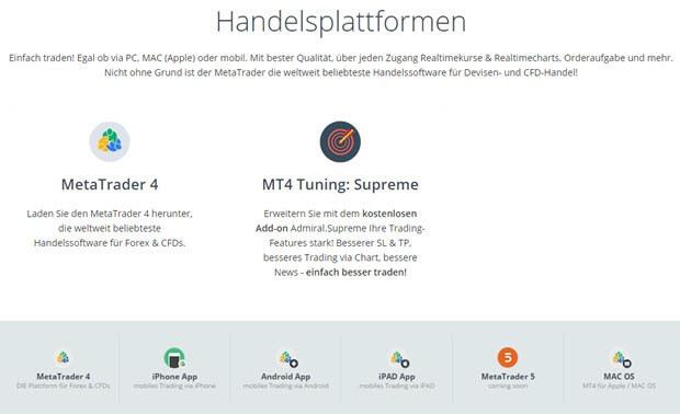 Mit der MetaTrader4 Plattform bei Admiral Markets handeln
