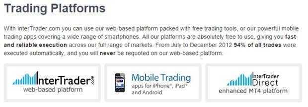 InterTrader bietet neben einer mobilen und brokereigenen Plattform auch eine webbasierte Variante