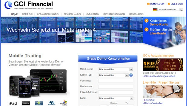 Mobiles Trading bei GCI Financial