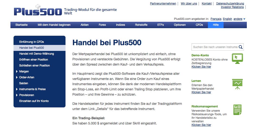 Handel PLUS500