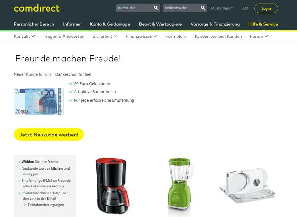 Kunden werben Comdirect