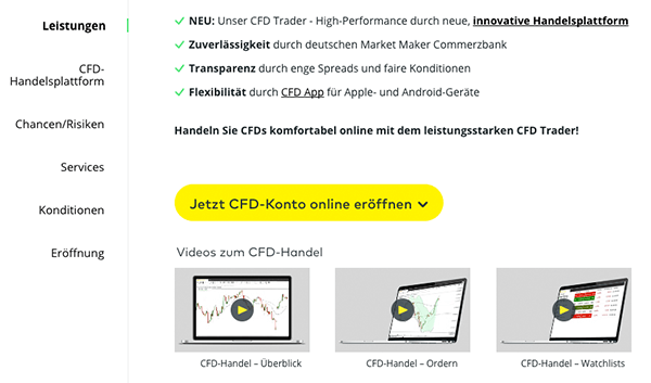 Comdirect CFD Handel