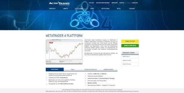 Die MetaTrader4 Plattform bei Activtrades