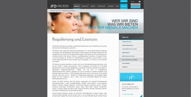 Alle wichtigen Informationen zur Regulierung findet man auf der Homepage von JFD Brokers