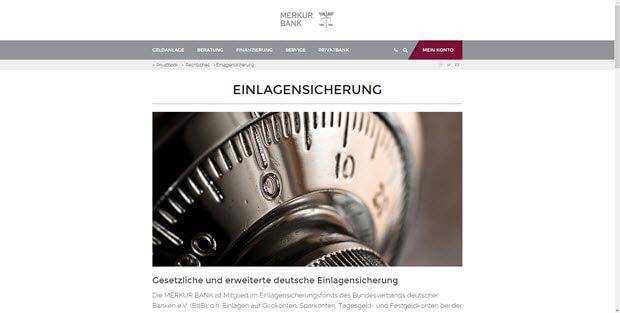 Merkur Bank bietet wichtige Informationen zur Einlagensicherung auf der Homepage