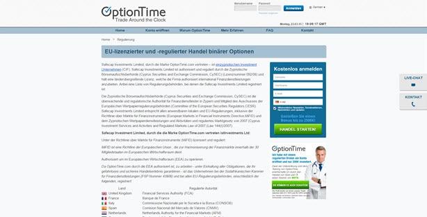 Lesen Sie auf der Homepage von OptionTime detaillierte Informationen zum Thema Regulierung