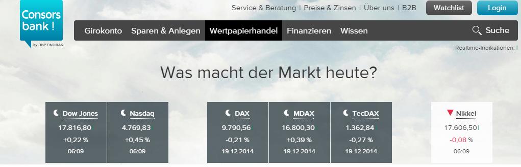Homepage von Consorsbank 1
