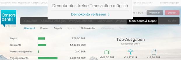 Demokonto der Consorsbank