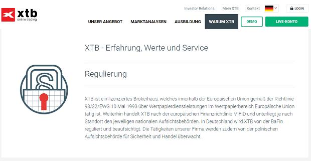XTB Regulierung
