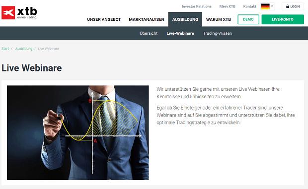 XTB bietet ein umfangreiches Schulungsangebot, so z. B. spannende Webinare.
