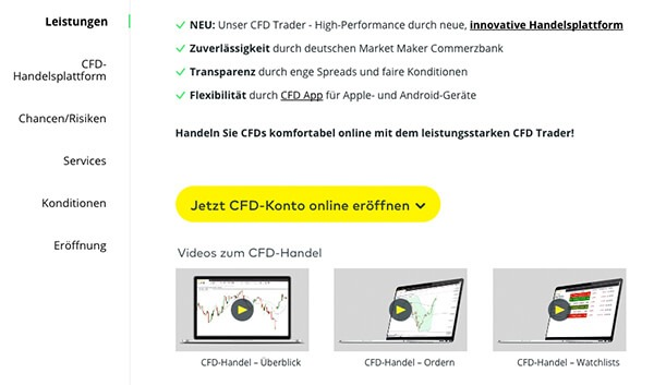 CFD Leistungen Comdirect
