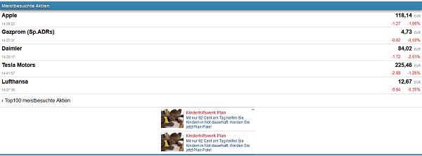Screenshot der Finanzen100 Mobilseite