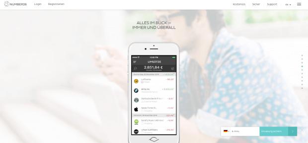 Number26 ist für seine Mobile Banking App bekannt