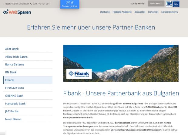 Weltsparen arbeitet mit der Fibank zusammen