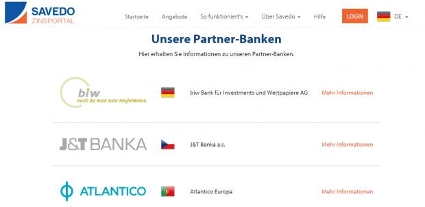 Die Partnerbanken von Savedo