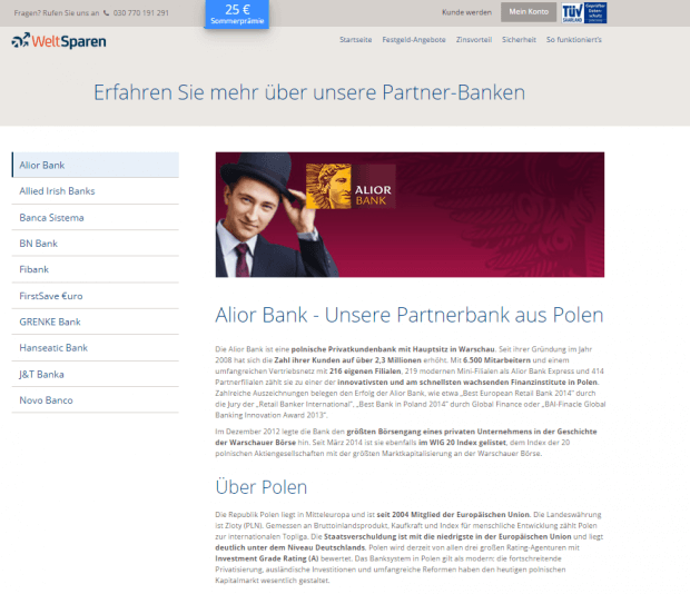 Die Seite der Partnerbanken von WeltSparen