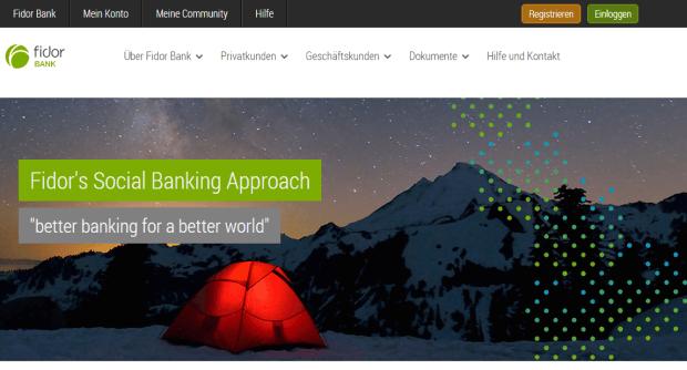 Die Homepage von der FIDOR Bank