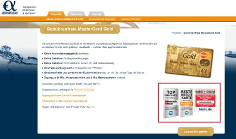 Die Auszeichnungen der gebührenfrei mastercard gold erfahrungen