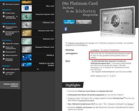Die Jahreskartengebühr von 600 Euro bei der Platinum Card