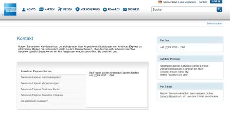 Kontaktmöglichkeiten bei American Express