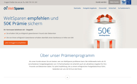 50 Euro Bonus bei Weltsparen