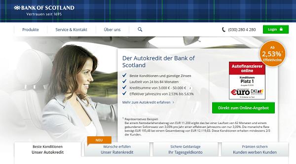 Die Webpräsenz der Bank of Scotland