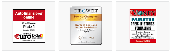 Ausgezeichnetes Produktangebot der Bank of Scotland