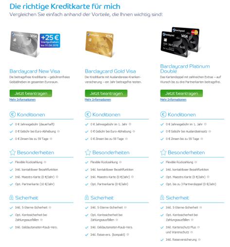 Ein Teil des Kreditkartenangebots bei Barclaycard