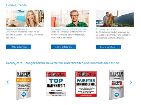 Die Auszeichnungen der Barclaycard-Kredite
