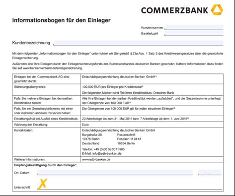Der Informationsbogen der Commerzbank